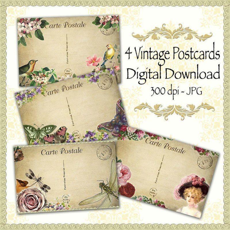 vintage postcards, scrapbooking, paper craft, digital download