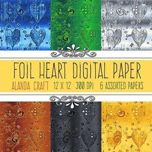 Foil-Heart Digital Backgrounds, scrapbooking, paper craft, card making