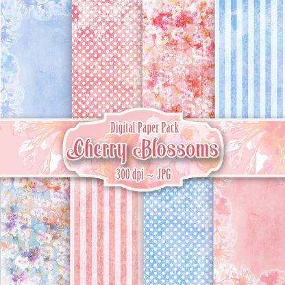 cherry blossoms digital backgrounds,scrapbooking,craft,paper craft