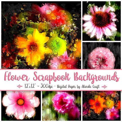 flowers-digital-backgrounds,scrapbooking, craft, digital download, paper craft