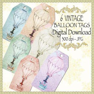 vintage-balloon-tags,digital download, scrapbooking, paper craft, card making