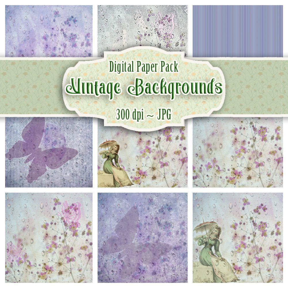 9 Vintage Floral Backgrounds Digital Download Alanda Online