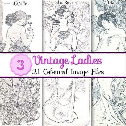 vintage-ladies-images, scrapbooking, card making, paper craft