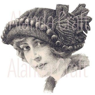 vintage-lady-with-hat,photo transfer, scrapbooking, paper craft, card making