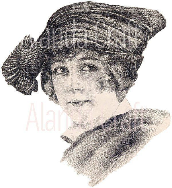 vintage-lady-with-hat, scrapbooking, paper craft, card craft