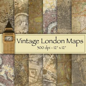 vintage-london-maps-digital-backgrounds, digital downloads, scrapbooking, paper craft, card making