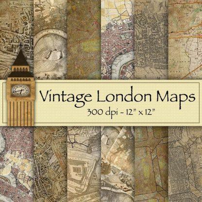 vintage-london-maps-digital-backgrounds, digital downloads, scrapbooking, paper craft, card making