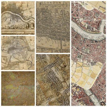 vintage-london-maps-digital-backgrounds,scrapbooking, paper craft, digital download, card making