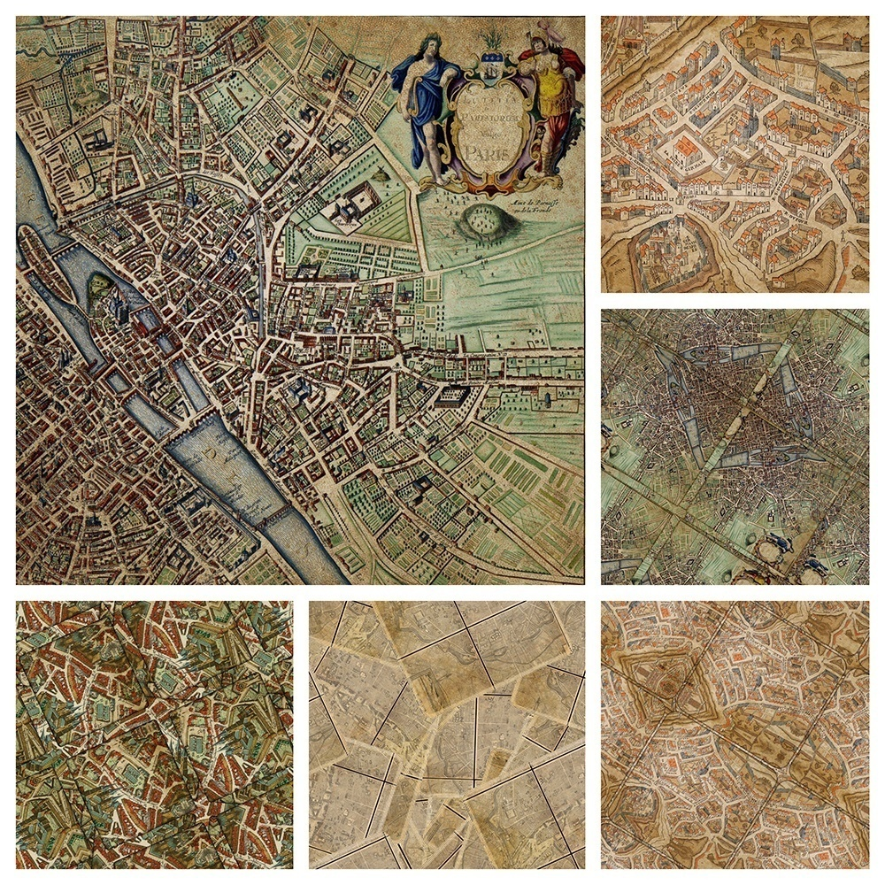 Vintage Paris Backgrounds Digital Scrapbooking Craft Paper Maps
